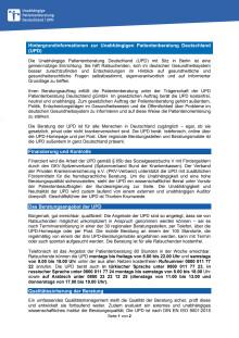 Hintergrundinformationen zur Unabhängigen Patientenberatung Deutschland (UPD)