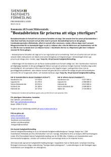 """Kommentar till Svensk Mäklarstatistik: """"Bostadsbristen får priserna att stiga ytterligare"""""""