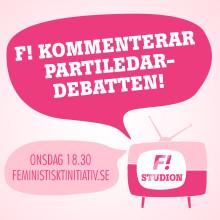 Feministiskt initiativ livekommenterar partiledardebatten från partiets egen F!-studio