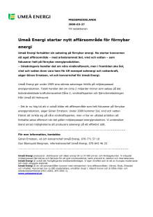 Umeå Energi startar nytt affärsområde för förnybar energi