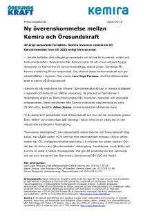 Ny överenskommelse mellan Kemira och Öresundskraft