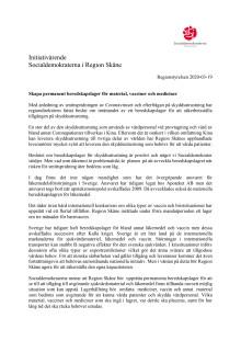 Initiativärende RS 2020-03-19 beredskapslager