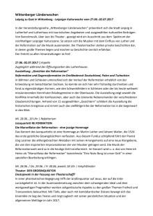 Wittenberger Länderwochen Leipzig zu Gast in Wittenberg - Leipziger Kulturwoche vom 27.06.-02.07.2017