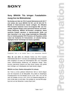 """Pressemitteilung """"Sony BRAVIA TVs bringen Fussballstimmung live ins Wohnzimmer"""""""