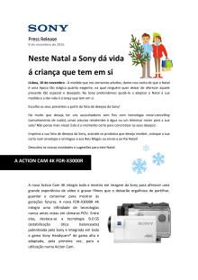 Neste Natal a Sony dá vida á criança que tem em si