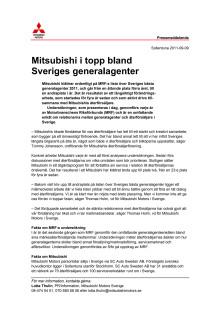 Mitsubishi i topp bland Sveriges generalagenter