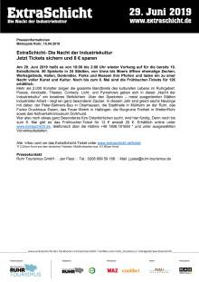 ExtraSchicht- Die Nacht der Industriekultur - Jetzt Tickets sichern und 8 € sparen
