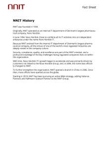 Fact Sheet - NNIT History