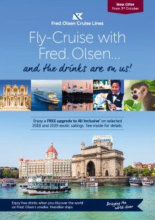 Raise a glass (or two!) for free on a 2018/19 exotic fly-cruise with Fred. Olsen