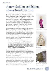 Press kit: British – ever so Nordic, fashion exhibition at Nordiska museet, Stockholm