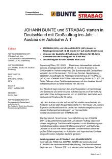 JOHANN BUNTE und STRABAG starten in Deutschland mit Großauftrag ins Jahr – Ausbau der Autobahn A 1