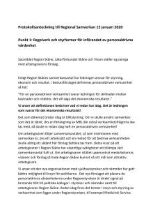 Protokollsanteckning  från Sacorådet, Läkarförbundet Skåne och Vision till Regional Samverkan 15 januari 2020