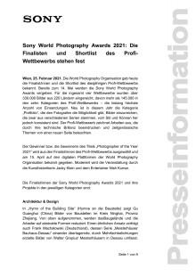 Sony World Photography Awards 2021: Die Finalisten und Shortlist des Profi-Wettbewerbs stehen fest