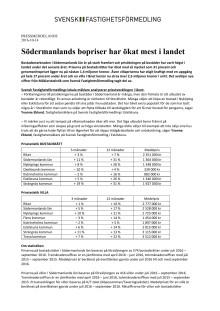 Södermanlands bopriser har ökat mest i landet