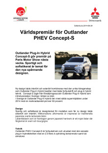Världspremiär för Outlander PHEV Concept-S