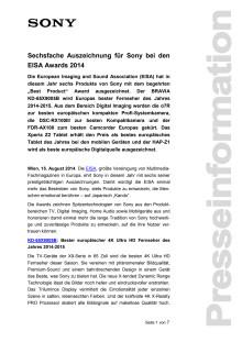 """Pressemitteilung """"Sechsfache Auszeichnung für Sony bei den EISA Awards 2014"""""""