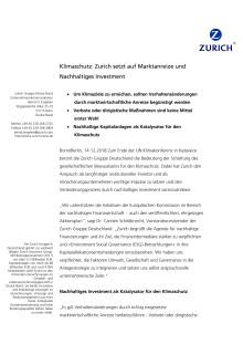 Klimaschutz: Zurich setzt auf Marktanreize und Nachhaltiges Investment
