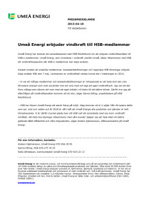 Umeå Energi erbjuder vindkraft till HSB-medlemmar
