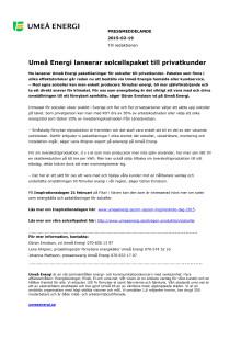 Umeå Energi lanserar solcellspaket till privatkunder