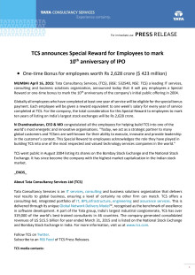 TCS announces special reward for employees