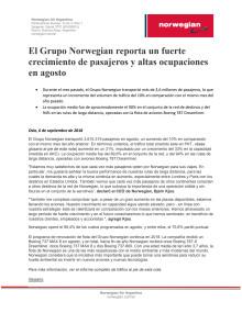 El Grupo Norwegian reporta un fuerte crecimiento de pasajeros y altas ocupaciones en agosto