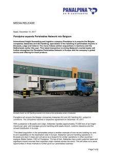 Panalpina expands Perishables Network into Belgium
