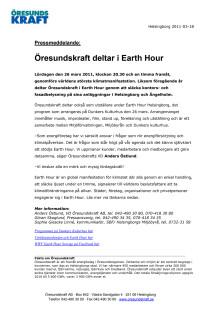 Öresundskraft deltar i Earth Hour