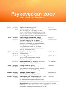 Program för psykeveckan 2007