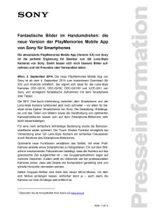 """Pressemitteilung """"Fantastische Bilder im Handumdrehen: die neue Version der PlayMemories Mobile App von Sony für Smartphones"""""""