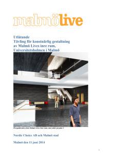 Malmö Live utlåtande konsttävling inre rum