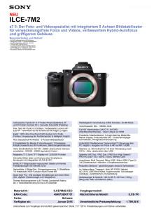 Datenblatt ILCE-7M2 von Sony