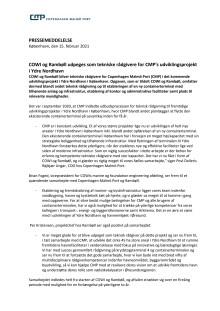 COWI og Rambøll udpeges som tekniske rådgivere for CMP's udviklingsprojekt i Ydre Nordhavn