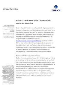 Rio 2016: Zurich startet Sports Talk und fördert sportlichen Nachwuchs
