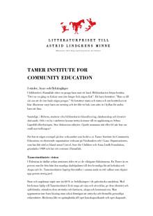 Biobibliografi: Tamer Institute for Community Education