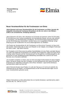 Neuer Verantwortlicher für die Forstmessen von Elmia, Pressemitteilung, German version