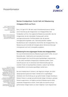 Renten-Fondspolicen: Zurich hält mit Rebalancing Anlageportfolio auf Kurs