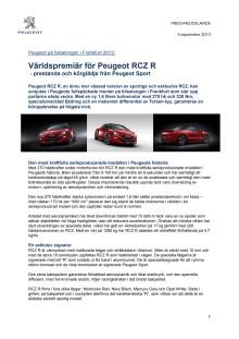 Världspremiär för Peugeot RCZ R  - prestanda och körglädje från Peugeot Sport