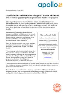 Apollo byder velkommen tilbage til Sharm El Sheikh