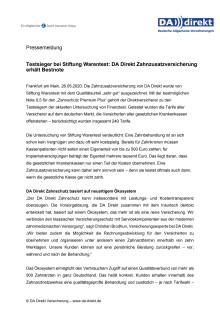 Testsieger bei Stiftung Warentest: DA Direkt Zahnzusatzversicherung erhält Bestnote