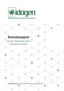 Idogen offentliggör kvartalsrapport för perioden juli till september 2015