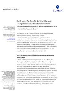 Zurich bietet Plattform für die Entwicklung von Lösungsmodellen zur Betriebsrenten-Reform