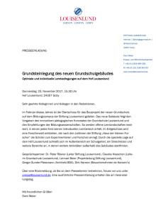PRESSEEINLADUNG: Grundsteinlegung des neuen Grundschulgebäudes in Louisenlund