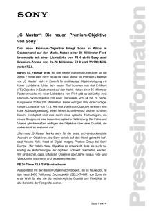 """""""G Master"""": Die neuen Premium-Objektive von Sony"""
