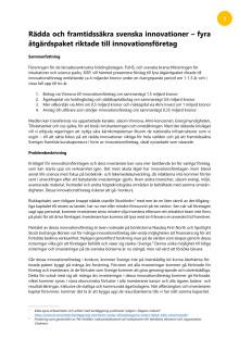 Åtgärdspaket för att rädda innovationsföretagen och framtidens jobb