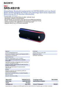 Datenblatt Wireless Speaker SRS-XB31 von Sony