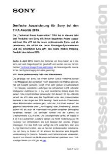 Dreifache Auszeichnung für Sony bei den TIPA  Awards 2015