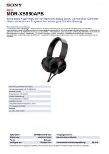 Datenblatt MDR-XB950APB von Sony