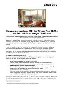 Samsung presenterar 2021 års TV med Neo QLED-, MICRO LED- och Lifestyle TV-skärmar