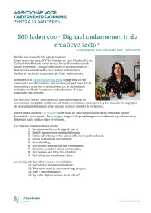 500 leden voor 'Digitaal ondernemen in de creatieve sector'