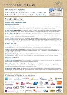 Propel Multi Club Summer Schedule